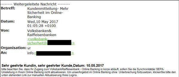 Phishing-Mail SEPA
